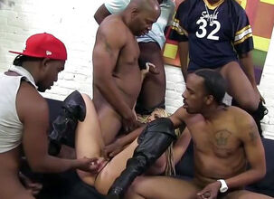 Ebony ghetto gangbang